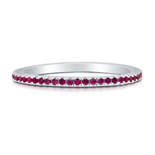 Ruby Cubic Zirconia CZ 925 Sterling Silver Full Eternity Ring Band - Nickel Free Engagement Wedding Band Ring Size 5.5