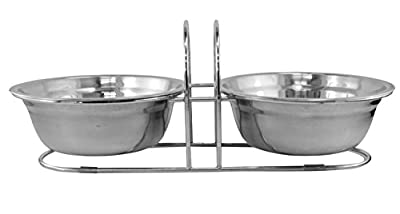 Pet Food and Water Dish - Stainless Steel - Double Pet Bowls with Stand