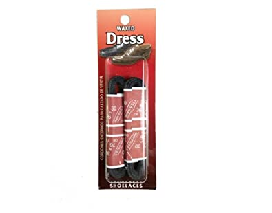 Mens Waxed Dress Shoe Laces 2 Pair-pro Grade Thin (Asst Sizes and Colors) (24, Black)