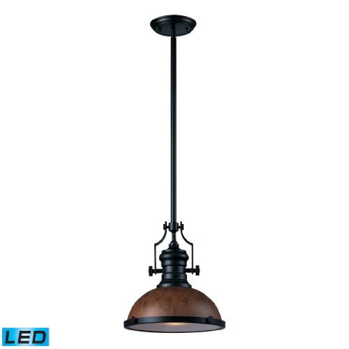 Chadwick 1 Light Pendant In Burl Wood And Oiled Bronze - Led Offering Up To 800 Lumens (60 Watt Equivalent) With Full Range Dimming. Includes An Easily Replaceable Led Bulb (120V).