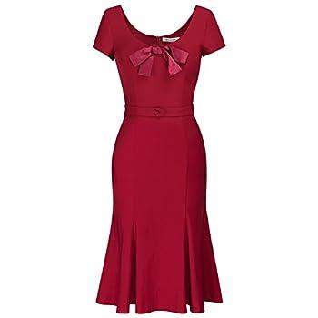 MUXXN Women's Cap Sleeve Vintage Scoop Neck Bodycon Pencil Dress