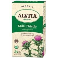 Organic Herbal Tea, Milk Thistle 24 BAGS by Alvita Teas (Pack of 4)