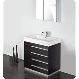 "Fresca Livello 30"" Black Modern Bathroom Vanity w/Faucet & Medicine Cabinet"