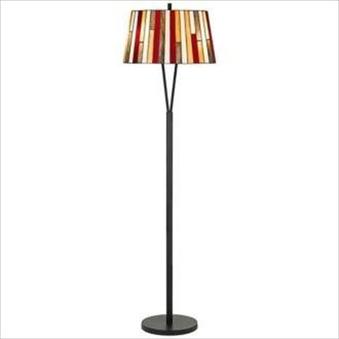 Cal Lighting Bo-3543Fl Tiffany 2 Light Pedestal Base Floor Lamp, Black