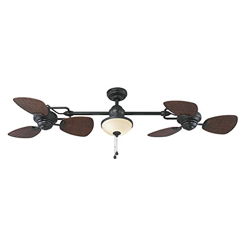 Harbor Breeze Twin Breeze Ii 74-in Oil-rubbed Bronze Outdoor Downrod Ceiling Fan 0