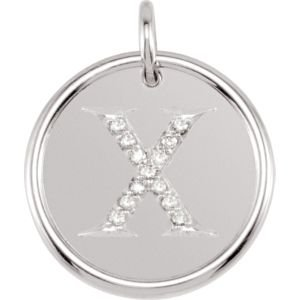 14K White Gold X Polished Posh Mommy Mother'S Mom® Initial Roxy Pendant Jewelry With Diamonds front-170561
