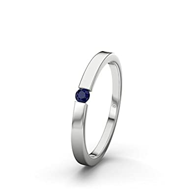 21DIAMONDS Padua Women's Ring Engagement Ring Round Brilliant Cut Blue Sapphire 9ct White Gold Engagement Ring