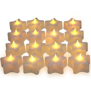 SET OF 16 (Pentagram Star Shape) LED BATTERY TEA CANDLE LIGHTS WITH AMBER FLAME & WHITE BASE CANDLES AMBER SAFE FLAMELESS TEALIGHTS - IDEAL FOR CHRISTMAS, WEDDINGS, PARTY..