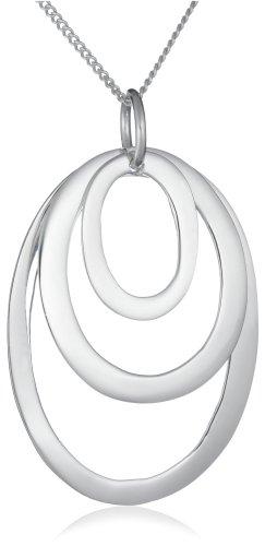 Silver 3 Open Graduated Ovals Pendant + Curb Chain 46cm