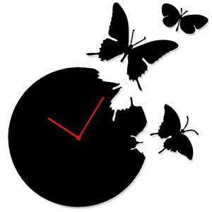 Amazon.com: Butterfly Time Fly Wall Clock DIY Art Home Decor Black ...
