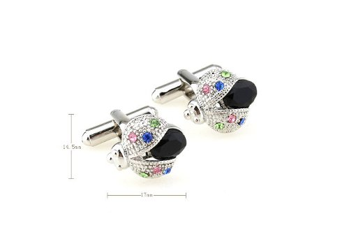 Men Novely Ladybird Design Cufflinks Black Crystal Glass Cuff link