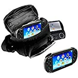 Orzly - Game & Console Travel Bag for Sony PSP Consoles (GO/VITA/1000/2000/3000) Has Special Compartments for Games & Accessories. Bag Includes Shoulder Strap + Carry Handle + Belt Loop - Black (Color: BLACK Carry Bag for All PSP Consoles)