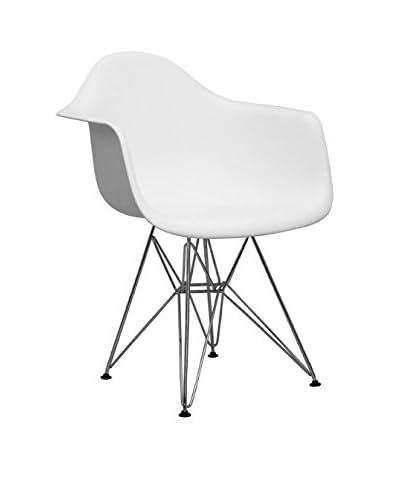 Manhattan Living Wire Leg Dining Arm Chair, White