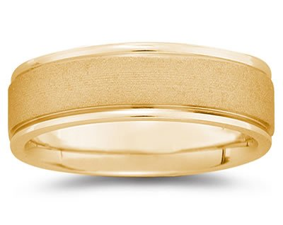 7mm Brushed Center Men's Wedding Band in 14k Yellow Gold