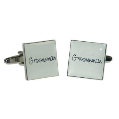 Grooms Man Ivory Square Wedding Cufflinks X2BOCW004