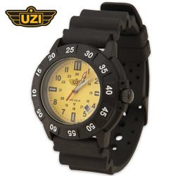 UZI Protector Watch Yellow Face Rubber Band