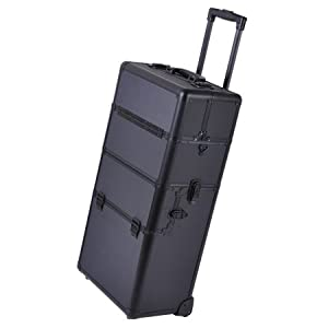 Pro Cosmetic Makeup Artist Rolling Aluminum Train Case Hair Style Box Black