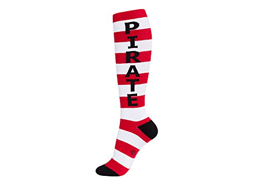 PIRATE Athletic Unisex tall boot Knee High Tube Socks - red white & black striped