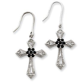 Sterling Silver Diamond Accent Cross Earrings with Shepherd Hooks