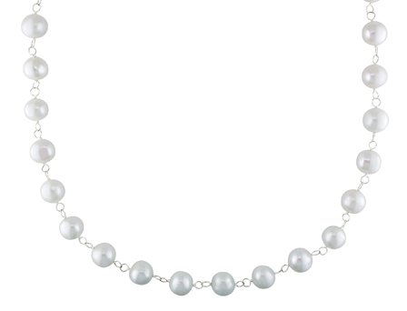 Sterling Silver Fresh Water White Pearl Endless Necklace (10-11 mm)