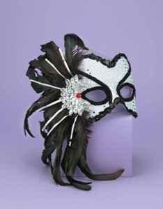 Mardi Gras Masquerade Venetian Feathered Silver Female Karneval Mask