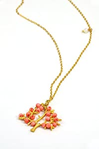 Fashion Necklace Gold Plated Chain Coral Pink Fruit Tree Shaped Pendant 20 inch