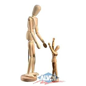 Wooden Human Mannequin (Unisex) 12 Inches Tall