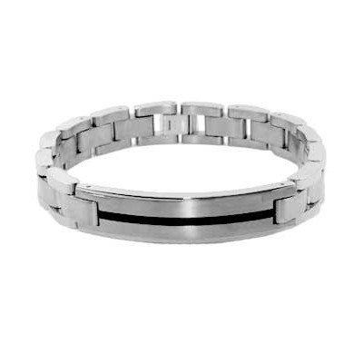 Urban Male Mens Solid Titanium ID Bracelet Black Resin Inlaid