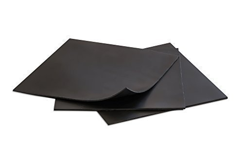 Rubber Sheets, Black, 6x6-Inch by 1/16 (Pack of 3) Neoprene, Plumbing, Gaskets DIY Material, Supports, Leveling, Sealing, Bumpers, Protection, Abrasion,