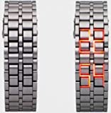 E2E Red LED Digital Watch molten lava Style mens sports watch