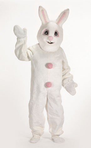 Adult White Bunny With Pink Tummy Mascot Costume XL