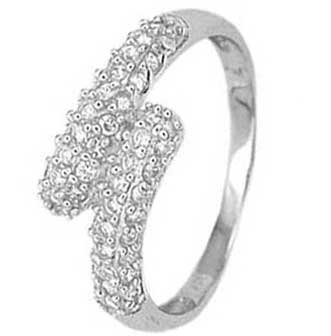 .925 Sterling Silver Promise Ring Covered with Cubic Zirconias