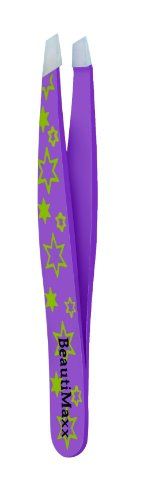 Beautimaxx 3.5-inch Purple Stars Slant Tip Eyebrow Tweezer