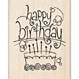 Inkadinkado Rubber Stamp-Fanciful Freehand Happy Birthday