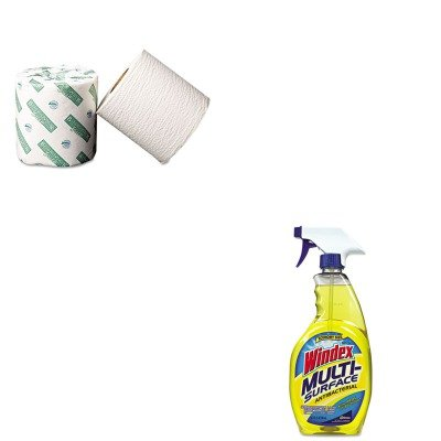 Kitbwk20Greendracb701380 - Value Kit - Green Bathroom Tissue, 2-Ply, White, 500 Sheets/Roll, 96 Rolls/Case (Bwk20Green) And Windex Antibacterial Multi-Surface Cleaner (Dracb701380) back-58365