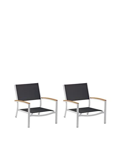Oxford Garden Travira Set of 2 Beach Chairs, Black/Teak/Aluminum