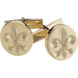 14k Yellow Gold Metal Fashion Fleur De Lis Cufflink Cuff Link - JewelryWeb