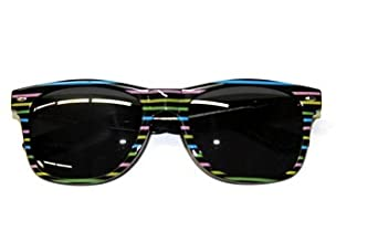 Stripe Wayfarer Sunglasses Multi Colored