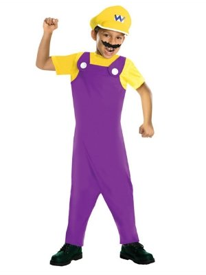 Nintendo Boys Super Mario Brothers Wario Costume With Jumpsuit Hat & Mustache