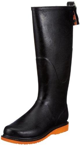Ilse Jacobsen Hoher Gummistiefel Rubber Boots Womens Black Schwarz (Schwarz Orange 0134) Size: 4 (37 EU)