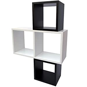 retro cube regal b cherregal 3er set vintage look cd regal. Black Bedroom Furniture Sets. Home Design Ideas