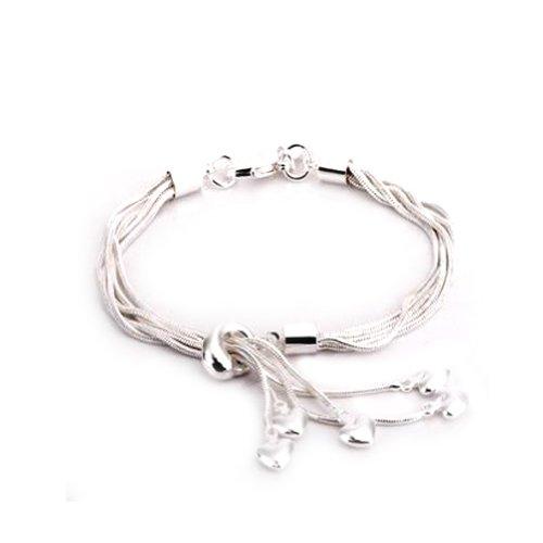 925 Silver bracelet Jewelry Bohemian Hearts Tassels Cuff Bangles Friendship Bracelets