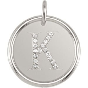 14K White Gold K Polished Posh Mommy Mother'S Mom® Initial Roxy Pendant Jewelry With Diamonds front-181262