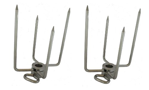 """OneGrill Stainless Steel Rotisserie Forks (1/2''Hexagon & 3/8"""" Square Spit)"""