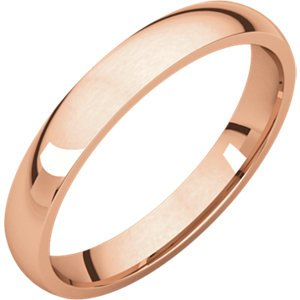 14kt Rose 3mm Light Comfort Fit Band ,Size- 7