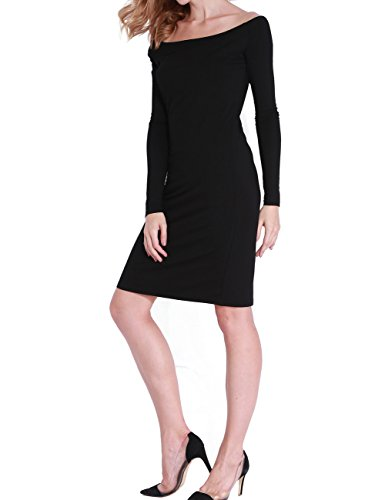 Mosocow Womens Knit Off Shoulder Slim Fit Stretchy Midi Dress