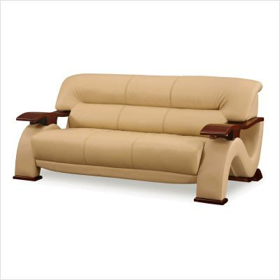 Leather Bench Seat Sofa in Cappuccino w Wood Trim - 2033