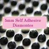 300 Black 5mm Acrylic Rhinestone Gems ~ Self Adhesive