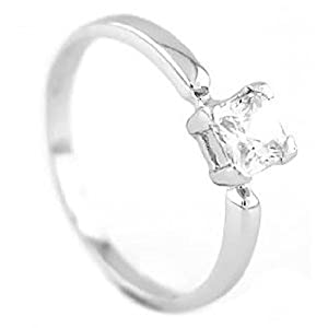 Silver Cubic Zirconia Princess Cut April Birth Month Child Ring Size 3