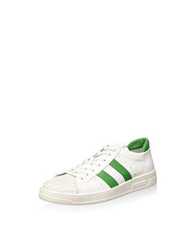 Bikkembergs Bounce 588 L.Shoe M Leather Scarpe Low-Top, Uomo, Bianco (White/Green), 44 grün/weiß